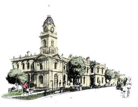 1 Town hall sketch
